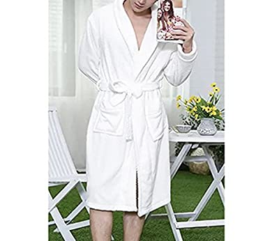LUXEHOME Ultra Soft 100% Flannel Bathrobe Luxury Shawl Collar Spa Robes for Men