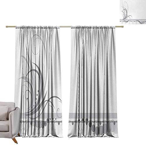 (berrly Room Darkening Curtain Grey,Ornament Border with Artistic Swirls Dots in Rococo Style Renaissance Details,Pale Grey White W72 x L96 Art Window Blackout)
