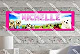 Puppies - 10''x32'' Personalized Name Poster with Border Mat, Customize Name Sign, Birthday Party Banner