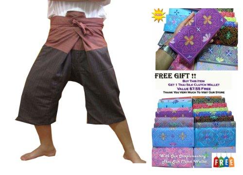 HITHOT SPORTY FOR YOU 2 TONE Thai Fisherman Pants 3/4 (32'' long) Mid-Calf Wrap Yoga by Night Bazaar
