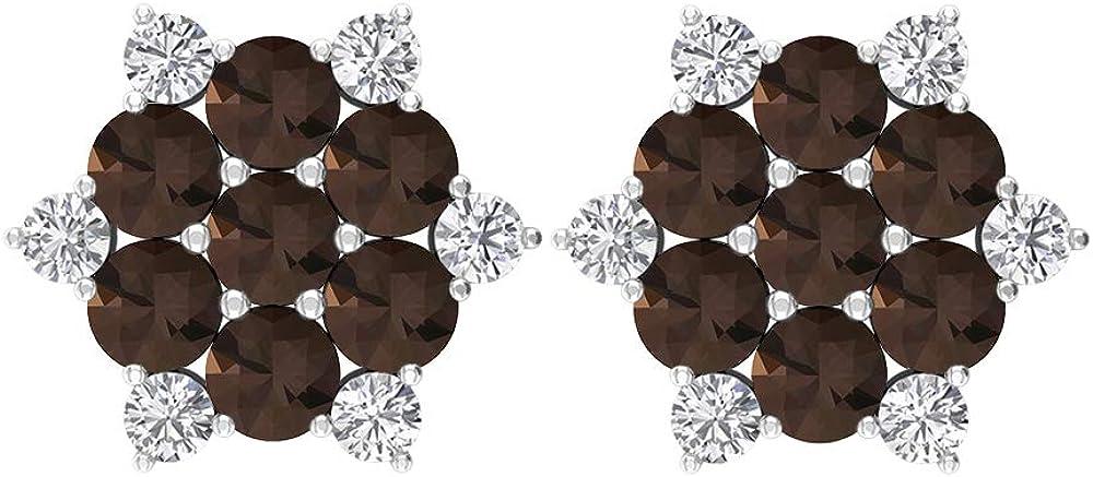 Pendientes de tuerca, de 1,62 quilates, diamantes HI-SI de 3 mm de cuarzo ahumado, pendientes de copo de nieve dorados, regalo de cumpleaños para ella, rosca trasera
