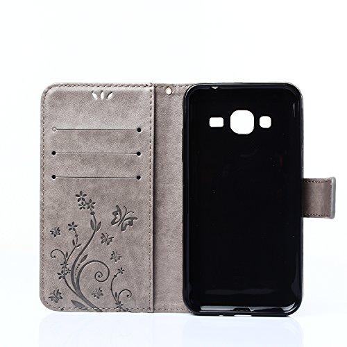 A9H Samsung Galaxy S Duos S7562,PU cuero resistente, Ultra Slim PU Cuero Folding Stand Flip Funda Carcasa Caso,Leather Case Wallet Protector Card Holders,Cubierta de la caja Funda protectora de cuero  04 gray