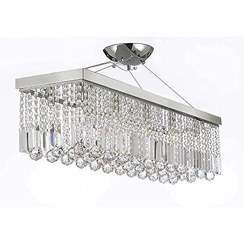 Rectangular lighting fixtures amazon 10 light 40 contemporary crystal chandelier rectangular chandeliers lighting mozeypictures Gallery