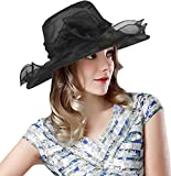 Lovful Kentucky Derby Hat Side Flower Décor Cocktail Tea Party Headdress for Woman, Black