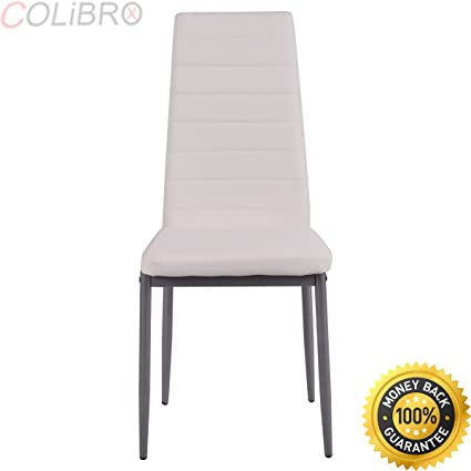 77319d7e94e2 COLIBROX--Set of 4 PU Leather Dining Side Chairs Elegant Design Home  Furniture White
