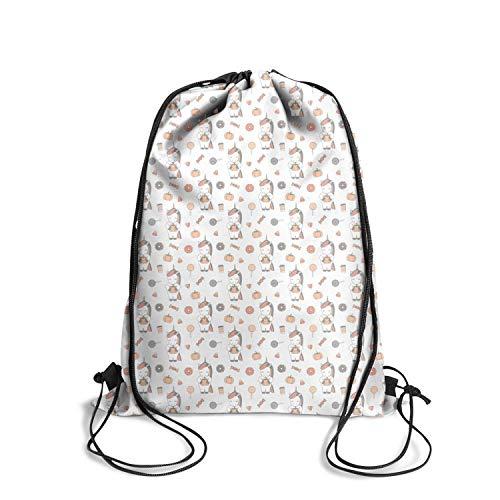 Popular Vintage reusable Drawstring Backpack-unicorn cute cartoon halloween