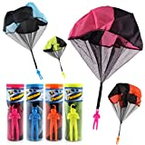 Toddler Kids Tangle Free Throwing Parachute Figures, Hand Throw Soldiers Parachute Outdoor Flying Toys for 3 Years Old Up Children, No Strings No Batteries (4 Pack, 4.8x15.5cm)