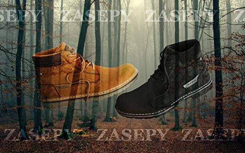 ZASEPY Men's Boots Anti-Slip Water Resistant Leather Outdoor Shoes Casual Boot for Men
