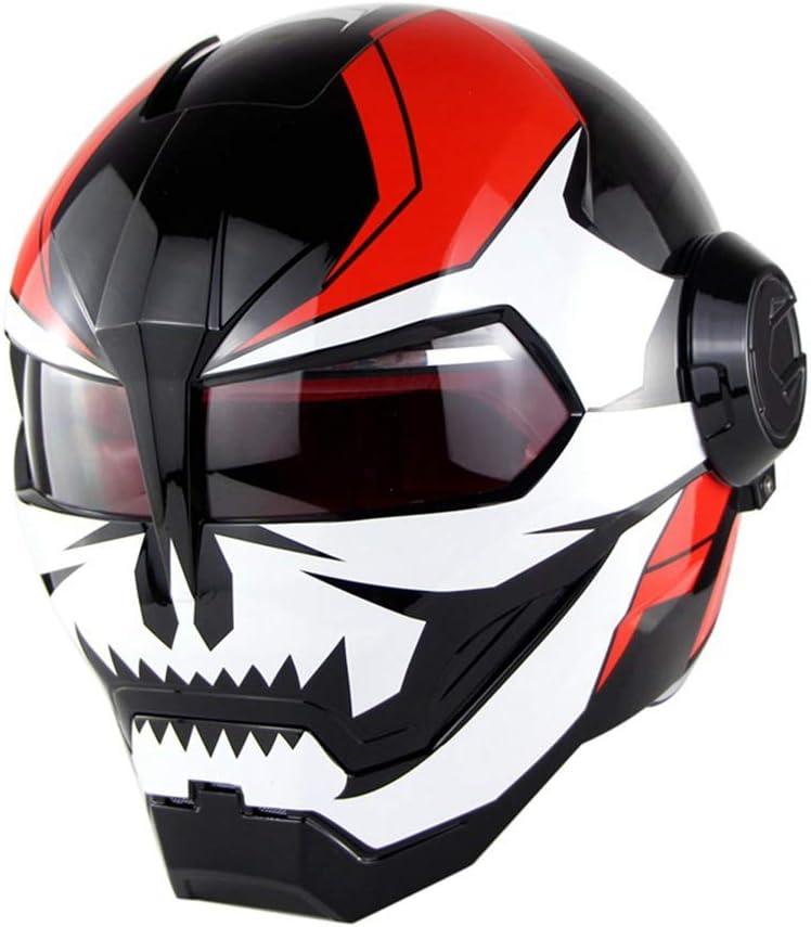 SKLLA Casco de máscara Abierta Casco Moto Flip con Casco de Motocicleta certificada D.O.T Casco Moto Flip, Transformadores Iron Man - M, L, XL