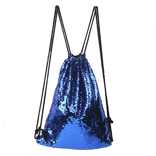 ieasysexy Mermaid Sequined Sports Bag Drawstring Outdoor Backpack,A Good Choice for Leisure (Blue and (Sequined Drawstring)