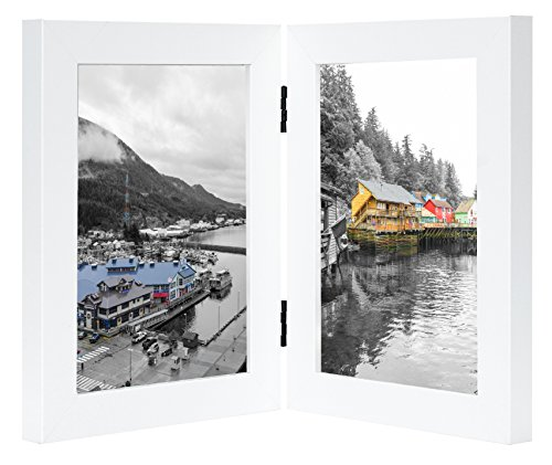 Double Click Photo (Golden State Art, Decorative Hinged Table Desk Top Picture Photo Frame, 2 Vertical Openings, 5x7 inches with Real Glass(5x7 Double, White))