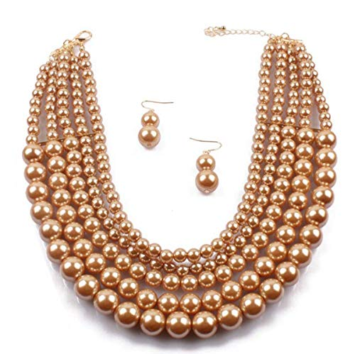 Faux Strand Earrings - Shineland Elegant 5 Layer Strand Faux Pearl Cluster Collar Bib Choker Necklace and Earrings Suit (Coffee)