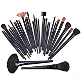 [Promotion] LiteXim 32Pcs Black Professional Facial Makeup Cosmetic Brush Collection Eyeshadow Powder Brush Set Kit with Black Soft Leather Roll up Pouch Case Silk UP and Forever Youn With Elegant Gift Earrings
