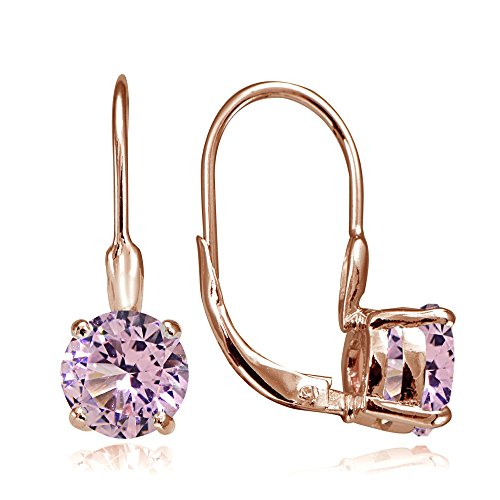 (Rose Gold Flashed Sterling Silver Simulated Pink Tourmaline 7mm Round Solitaire Leverback Earrings)