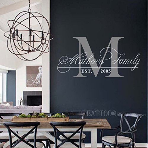 BATTOO Family Name Wall Decal Personalized Monogram Wall Decal Custom Family Established Date Vinyl Wall Decal Family Decor Family Wall Decal 50