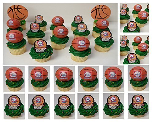 PHILADELPHIA 76ers SIXERS 14 Piece NBA Basketball Birthday Party Cupcake Topper Set - Includes All Cupcake Toppers and Accessories Shown in (Nba Cake)
