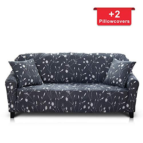 Hipinger Spandex Fabric Stretch Couch Cover Sofa Slipcover Stylish Furniture Protector for 3 Cushion Couch (3 Seater, White Flower) (Cushion Sofa Pattern)