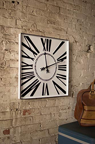 Kalalou CVY1130 Square ENAMELWARE Black and White Clock
