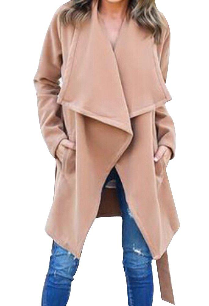Faithtur Women's Casual Long Sleeve Lapel Outwear Trench Coat Cardigan (Label S/US 4, Khaki Brown)