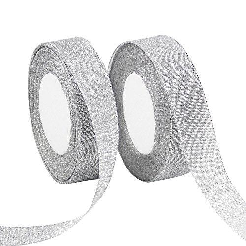 VATIN 2 Rolls Glitter Metallic Silver Ribbon 1