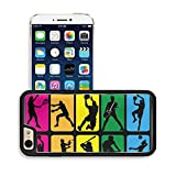 Luxlady Premium Apple iPhone 6 Plus iPhone 6S Plus Aluminum Backplate Bumper Snap Case IMAGE ID: 34808671 Sport players shadow Silhouette basketball tennis baseball volleyball music shot put bike