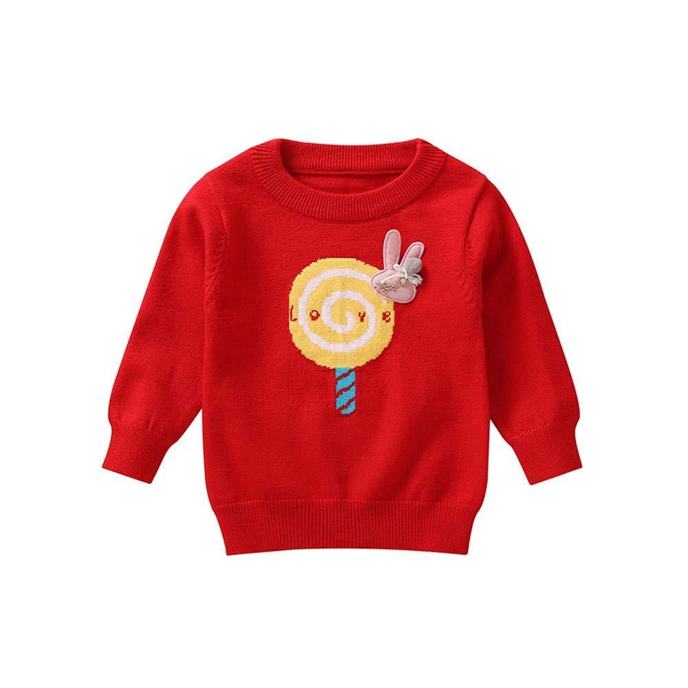 Toddler Infant Girls Lollipop Rabbit O Neck Pullover Sweater Warm Tops