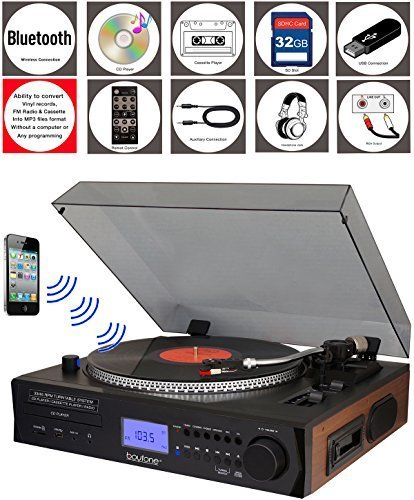 (Boytone BT-11B Fully Automatic Large Size Turntable, Bluetooth Wireless, 2 Built in Stereo Speaker, S-Shaped Tone Arm with Adjustable Counterweight & Pitch Control, AM/FM, CD, (Renewed))