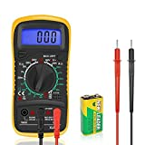 Digital Multimeter Electrical Tester Meters Voltmeter Ammeter Ohm Battery Circuit Multi Tester with Test Leads DC AC Voltage Current Resistance Diodes Transistor Backlight LCD Audible Continuity Measuring Meter