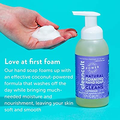 Natural Foaming Hand Soap that Actually Cleans! - Lavender Fragrance - 100% Organic - Eco-friendly - Moisturizing and Nourishing - Safe for Kids - Baby Safe - Biodegradable | by cleancult