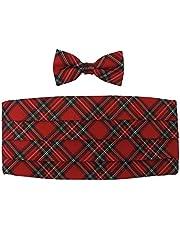 Boys' Red Christmas Plaid Cummerbund Bow Tie Set