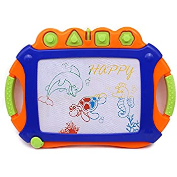 Magnetic Doodle Sketch Learning Toys - Wishtime Erasable Colorful Large Size Writing Board 4 Colors Display Zone for kids Toddler Creativity Center Chritsmas Gift