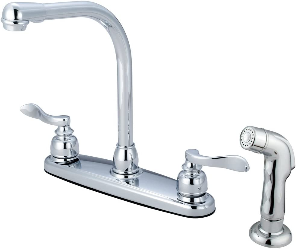 Kingston Brass KB8751NFLSP Nuwave French 8-Inch High Arch Kitchen Faucet with Sprayer, 6-7 8-Inch, Polished Chrome