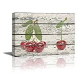 Cherry Kitchen Decor wall26 - Canvas Prints Wall Art - Red Cherries on Vintage Wood Background Rustic Home Decoration - 24
