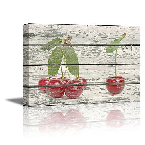 wall26 Canvas Prints Wall Art - Red Cherries on Vintage Wood Background Rustic Home Decoration - 12