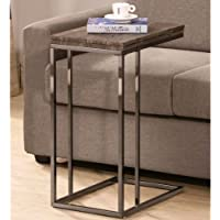 Casual Black Metal Java Weathered Wood Swivel Expendable Flip-top Snack Side Table