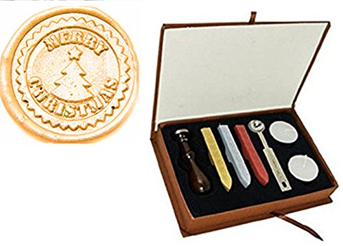 MDLG New Vintage Merry Christmas Tree Star Custom Made Picture Personalized Letter Picture Logo Retro Invitation Wax Seal Stamp Rosewood Handle Melting Spoon Sticks Gift Box Set ()