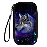 Bigcardesigns 3D Galaxy Wolf Print Passport Holder Travel Wallet Wrist Strap