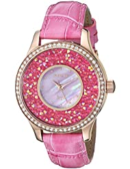 Invicta Womens Angel Quartz Stainless Steel and Leather Casual Watch, Color:Pink (Model: 24586)
