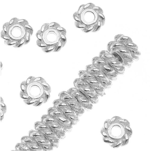 Bright Silver Plated Pewter Twist Edge Spacer Beads 4mm (50) - Silver Plated Twist