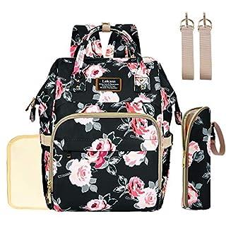 Diaper Bag Backpack for Girls Boys, Floral Baby Bag Maternity Nappy Bag Changing Pad, Stroller Hooks, Insulated Bottle Bag