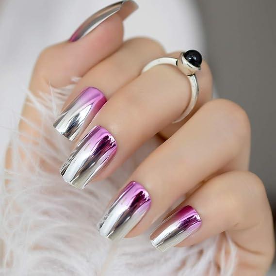EchiQ - Espejo de uñas postizas de metal rosa, estilo metálico, estilo punk, cuadrado, acrílico, puntas falsas para uñas de verano, color rosa: Amazon.es: ...
