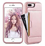 ZVE Case for Apple iPhone 8 Plus and iPhone 7 Plus, 5.5 inch, Slim Leather Wallet Case with Credit Card Holder Slot Pocket Protective Case Cover for Apple iPhone 7/8 Plus - Rose Gold