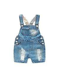 Mornyray Unisex-Baby Summer Denim Overall Shorts Cool Ripped Jeans Jumpsuit