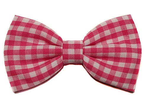EmilyRose Couture Gingham Hair Bows (Scrunchy, Hot Pink) ()