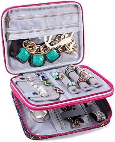 Teamoy Joyero Caja para Joyas Estuche de Joyería Bolsa de Viaje Organizador para Collares,Pulseras,Pendientes,Anillos,Cadenas,Flores Azul(Sin Accesorios): Amazon.es: Juguetes y juegos