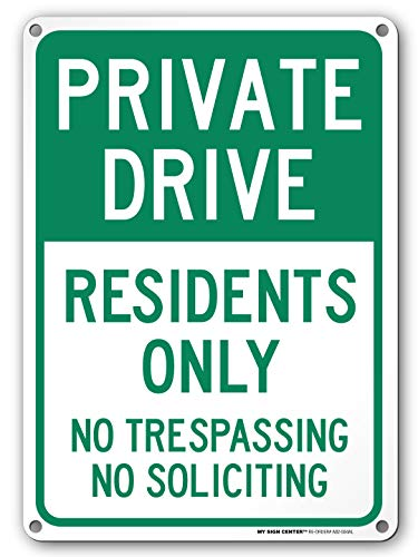 Private Drive Sign, No Trespassing Private Road Sign, No Soliciting, Outdoor Rust-Free Metal, 10