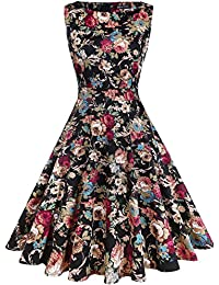 857ba4fbd5c Women s Vintage 1950 s Floral Spring Garden Rockabilly Swing Prom Party  Cocktail Dress