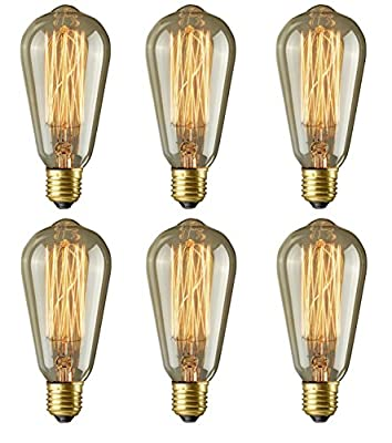 Edison Bulbs, Rolay 40w Dimmable Industrial Pendant Filament Light Bulbs with Vintage Antique Style Design for Pendant Lighting, Wall Sconces, Ceiling Fan and Chandeliers - 160 Lumens - 6 Pack