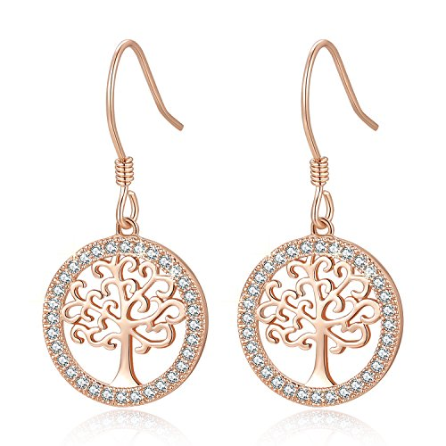 (MEGA CREATIVE JEWELRY Family Tree of Life 925 Sterling Silver Crystal from Swarovski Pendant Necklace (Rose Gold Earrings))