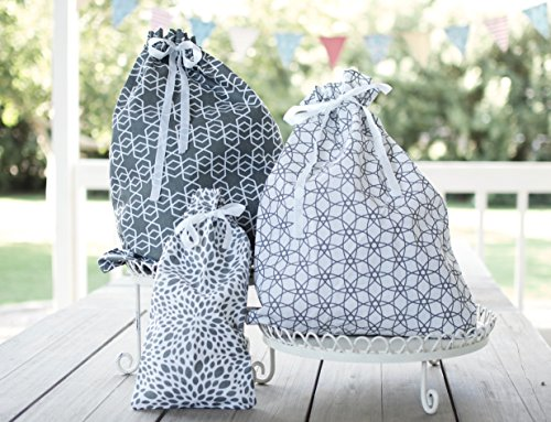 Reusable Fabric Gift Bags Large Gray (set of 3) - Wrap Presents in Seconds!